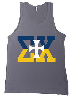 sigma chi navy gold letters bella canvas tank top fraternity shirt new