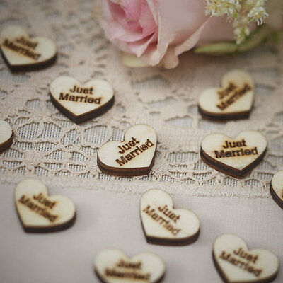 Ginger Ray Wooden Heart Just Married Table Confetti Wood brown heart, confetti