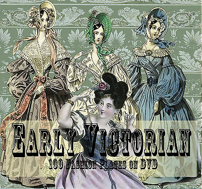Vintage Victorian Fashion Ladies Stock Images Decoupage Cards Tags on DVD