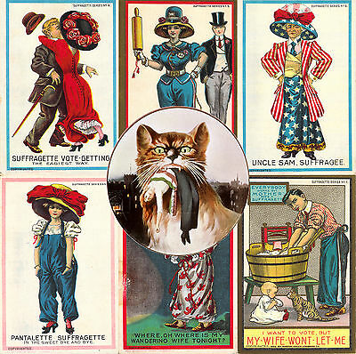 Suffragette Postcards Decoupage Cards Tags Scrapbook 100 on CD