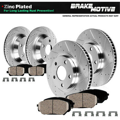 FRONT+REAR DRILLED SLOTTED BRAKE ROTORS AND 8 CERAMIC PADS Fits G37 350Z 370Z