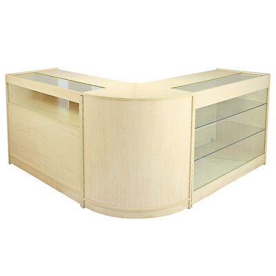 Shop Counter Maple Retail Display Storage Cabinets Glass Shelves Lockable Pisces