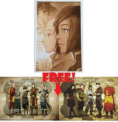 SDCC Comic Con Legend of Korra Aang Litho Matte Print + Old/New Friends Poster