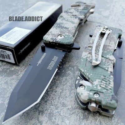 """8"""" Military ARMY CAMO Tactical Combat TANTO FOLDING OPEN RESCUE POCKET KNIFE NEW"""