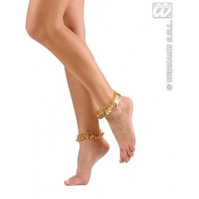 Gold Anklets With Bells Cleopatra Egyptian Fancy Dress Costume Jewellery