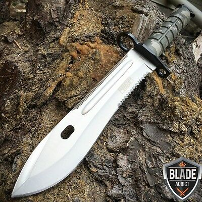 "13"" Military COMBAT Survival Rambo Fixed Blade Hunting Knife Bayonet Tactical"