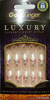 Kiss Gold Finger Luxury Long Length Gfl10 24 Full Cover Nails Glue Included