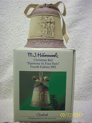 Goebel M.J. Hummel Christmas Bell Fourth Edition 1992 NEW SCARCE