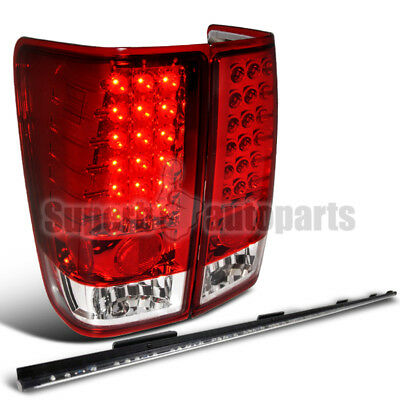 "For 2004-2015 Titan Red Clear LED Tail Lights+60"" Tailgate Bar Lamp"