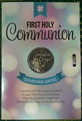 First Holy Communion, Guardian Angel, Card & Lucky Coin, 115 x 170mm, Luck Coin