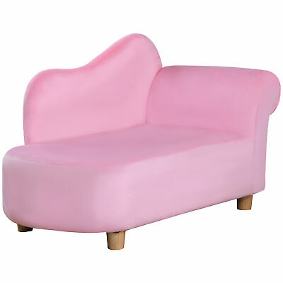 Girls Velvet Chaise Longue Lounge Sofa Day Bed Bedroom Couch Seat Princess Chair