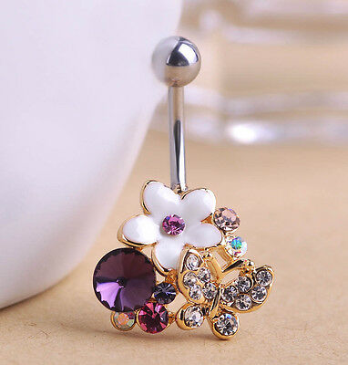 Navel Belly Bars Crystal Dangly Body Piercing Belly Button Gold plated Butterfly