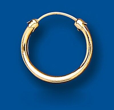 Men's Yellow Gold 14mm Heavy Weight Hoop Sleeper Earring British Made Hallmarked