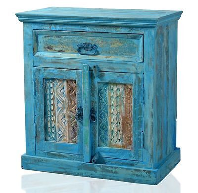 Vintage sideboard altholz blau anrichte kommode for Kommode blau