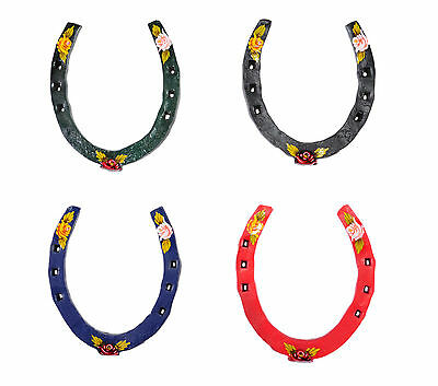 Hand Painted Decorative Flower 'Lucky' Horseshoe - Various Colours Available