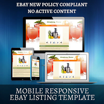100% Mobile Responsive eBay Auction Listing Template HTML Free Shipping
