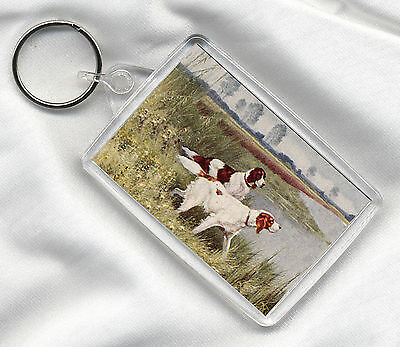 Key Ring With Vintage Style Irish Red And White Setter Dog Print Image Insert