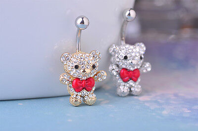 Navel Belly Bars Crystal Dangly Body Piercing Belly Button gold plated Bear