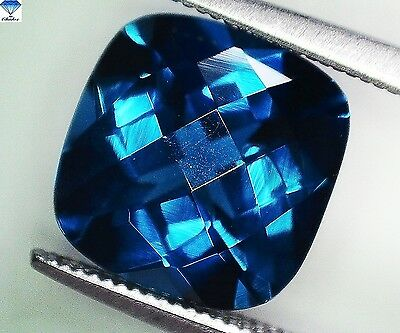 1x Topas - Londonblue, cushion Schachbrett IF 10x10mm (BT083)