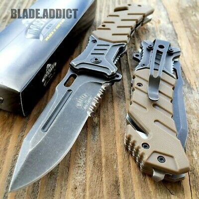 "8"" MILITARY Tactical Combat Spring Assisted Open Pocket Rescue Knife EDC"