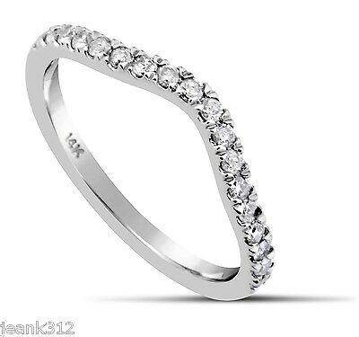 Diamond Wedding Ring Band 0.21 Carat CURVED 14K White Gold Classic Traditional