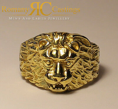 Polished Lion's Head  Ring  in 9ct Solid Gold 14 grams Fully Hallmarked