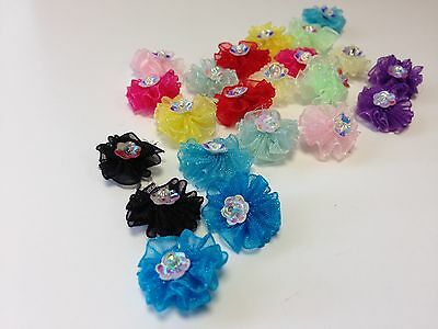 30 x 15mm Fabric Tissue Flowers Diamante Sequin Embellishment DIY Card Making