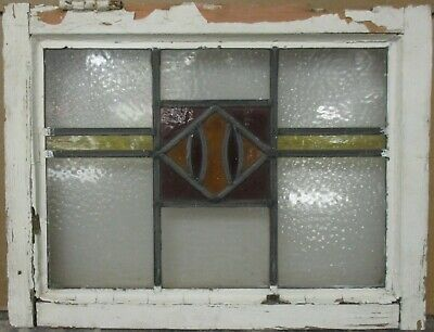 "OLD ENGLISH LEADED STAINED GLASS WINDOW Cute Geometric Band 21.25"" x 16.25"""