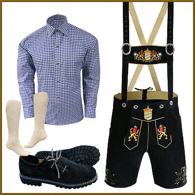 German Bavarian Oktoberfest Trachten Lederhosen+Shirt+Shoes+Socks Package / Set