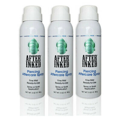 After Inked Piercing Spray Healing Body Mouth Piercings Aftercare 3 PACK