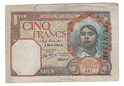 1941 Algerie Banque Tunisia Overprint Paper Money Five 5 Cinq Francs Note RARE