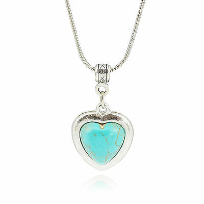 Vintage Silver Turquoise Heart Pendant Women Choker Collar Necklaces Jewelry New