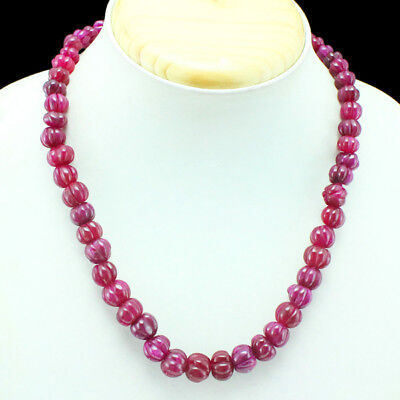 Gorgeous Beautiful 245.00 Cts Earth Mined Natural Carved Red Ruby Beads Necklace