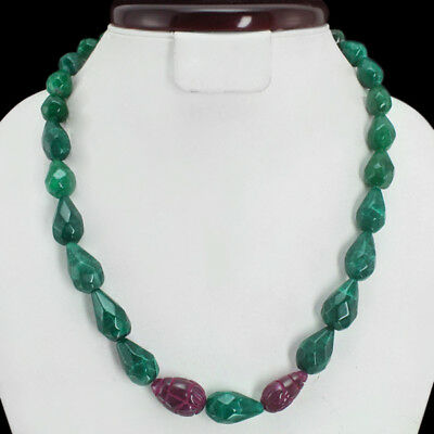 Superb Top Grade 372.00 Cts Natural Carveed Ruby & Green Emerald Beads Necklace