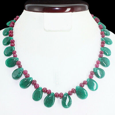 Top Grade Selling 293.50 Cts Natural Red Ruby & Green Emerald Beads Necklace
