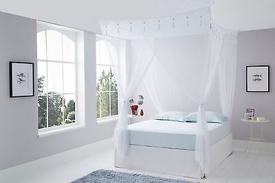 DOUBLE White Bedroom Mosquito Net Bed Canopy 4 Poster Bed Style Box Net