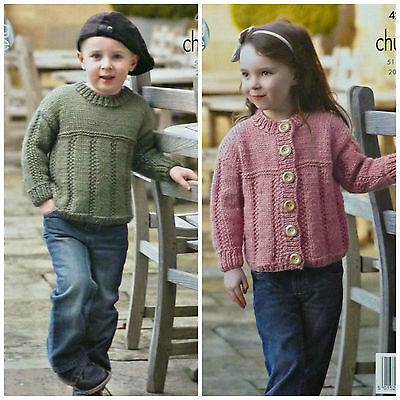 KNITTING PATTERN Childrens EASY KNIT Long Sleeve Jumper & Cardigan Chunky 4285