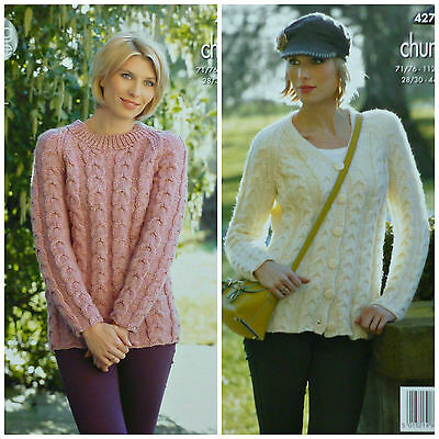 KNITTING PATTERN Ladies Long Sleeve Cable Jumper & Cardigan Chunky KingCole 4278