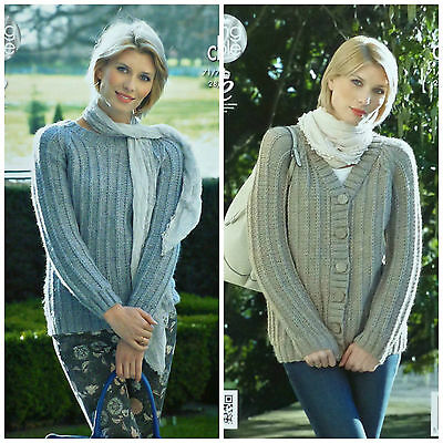 KNITTING PATTERN Ladies Long Sleeve Ribbed Jumper & V-Neck Jacket Chunky KC 4276