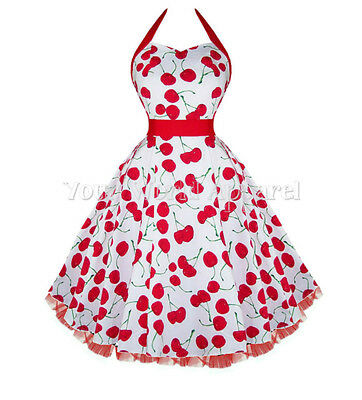 65596677de H&R LONDON WHITE BIG CHERRY HALTER DRESS PINUP 1950s ROCKABILLY RETRO  VINTAGE