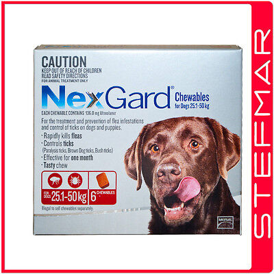 NexGard Chews for Large Dogs 25-50kg 6Pack Chewables