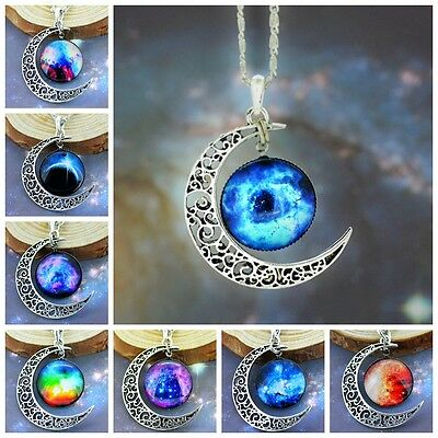 Classic Galaxy Glass Crescent Moon Shape Pendant Silver Tone Colorful Necklace