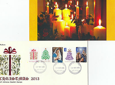 "2013 Christmas set of 5 booklet stamps on limited edition ""K"" Covers FDC"