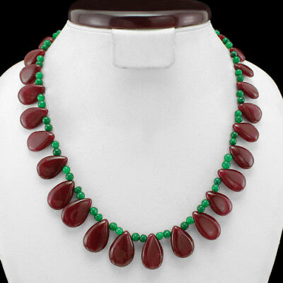 Finest Top Grade 297.00 Cts Natural Earth Mined Ruby & Emerald Beads Necklace