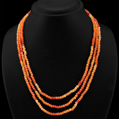Awesome Top Selling 166.00 Cts Natural 3 Line Orange Carnelian Beads Necklace