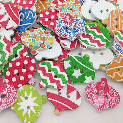 New 20/50/100pcs Wooden Merry Christmas Buttons Doll Sewing Craft  WB181