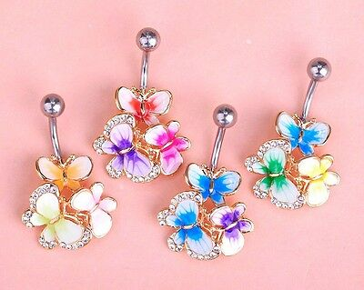 Navel Belly Bars Crystal Dangly Body Piercing Belly Button Enamel Butterfly