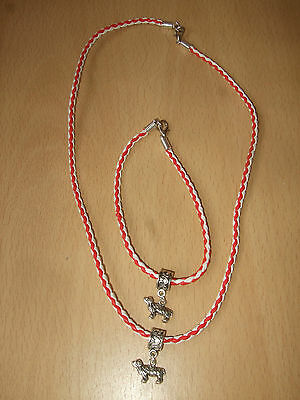 Handmade Collie Bracelet & Necklace Set with Charm Red & White Dog Puppy Bearded