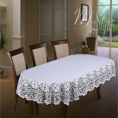Oval Lace Tablecloth White Large or Medium Premium Quality