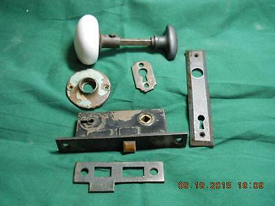 Antique Corbin Mortise Lock  - White Porclen Knob & Bean Thumbscrew